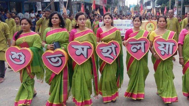 মৌলভীবাজার দূর্গাবাড়ির এবারের পূজায় নেতৃত্ব দিচ্ছেন নারীরা